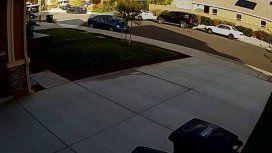 Las cámaras de seguridad del barrio captaron el momento del rescate