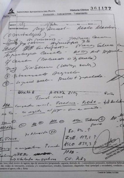 Parte del informe médico que confirma las lesiones en el cuerpo de Nahir.