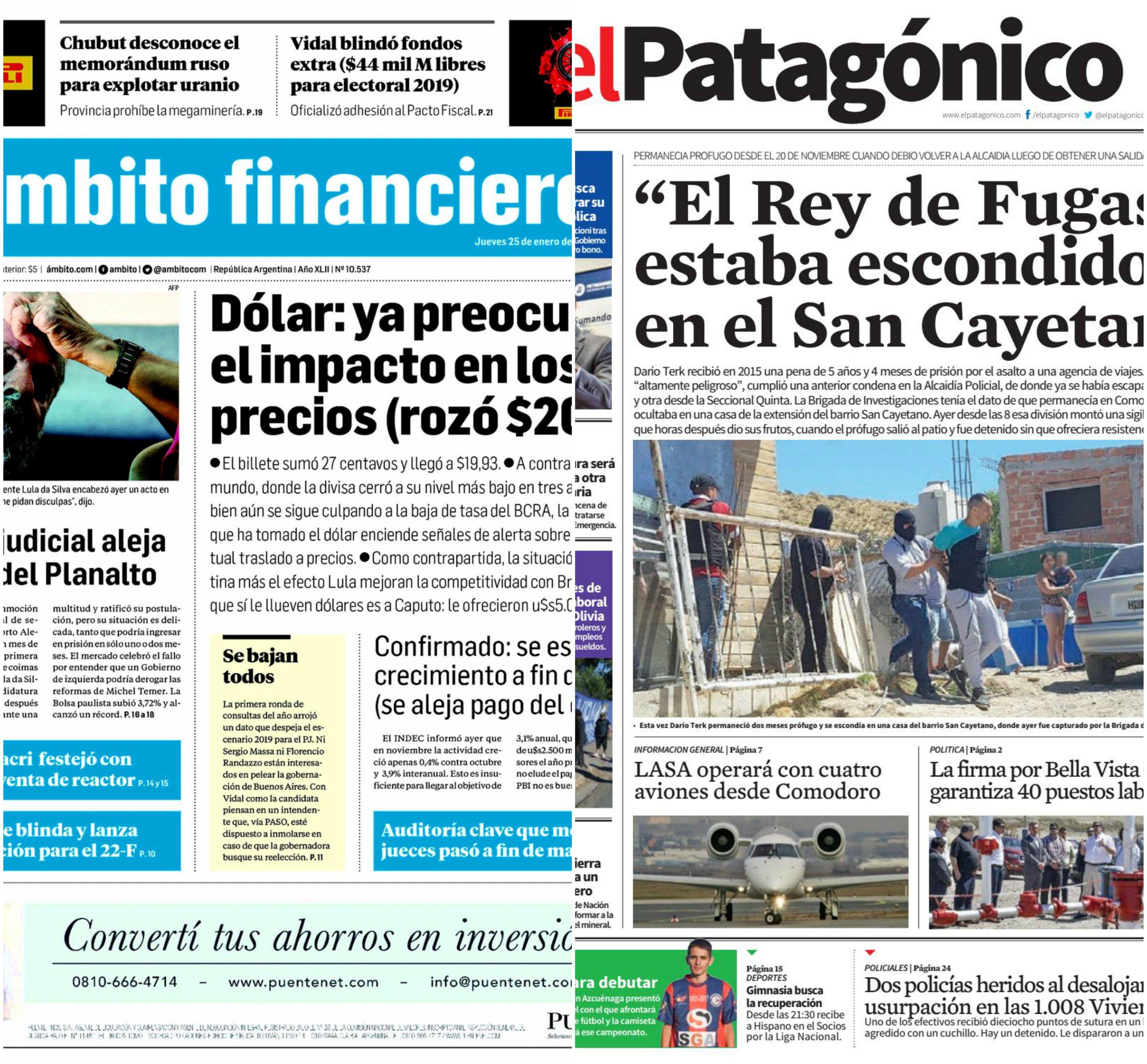 Tapas de diarios del jueves 25 de enero de 2018