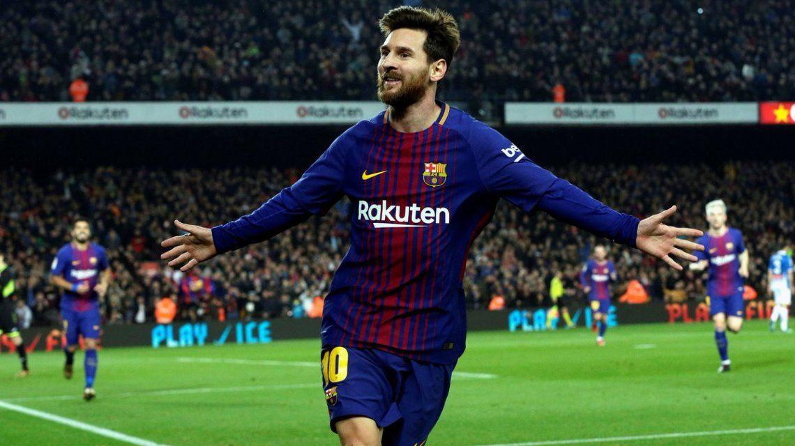 Lionel Messi tras marcarle el 2 a 0 al Espanyol