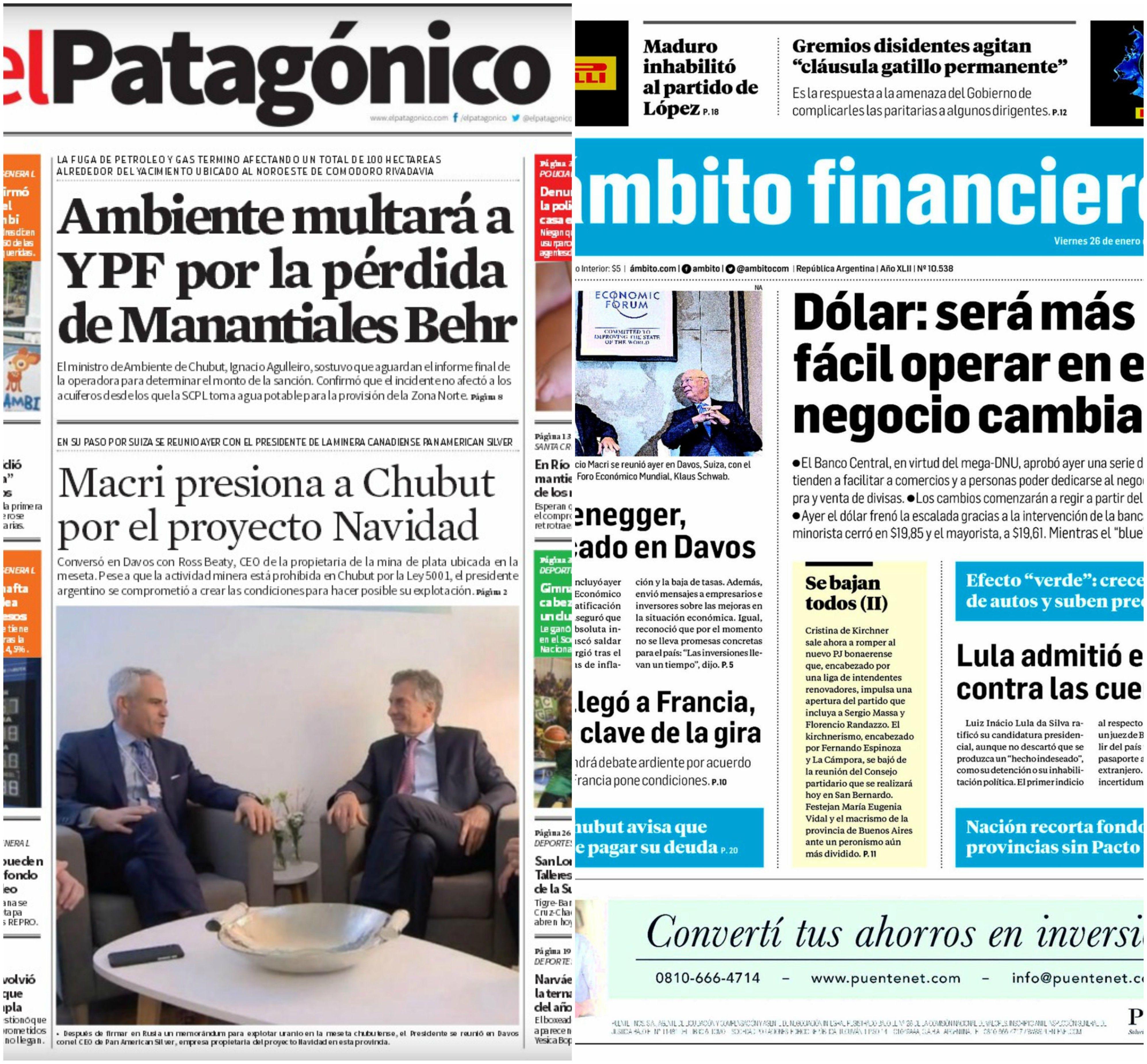Tapas de diarios del viernes 26 de enero de 2018