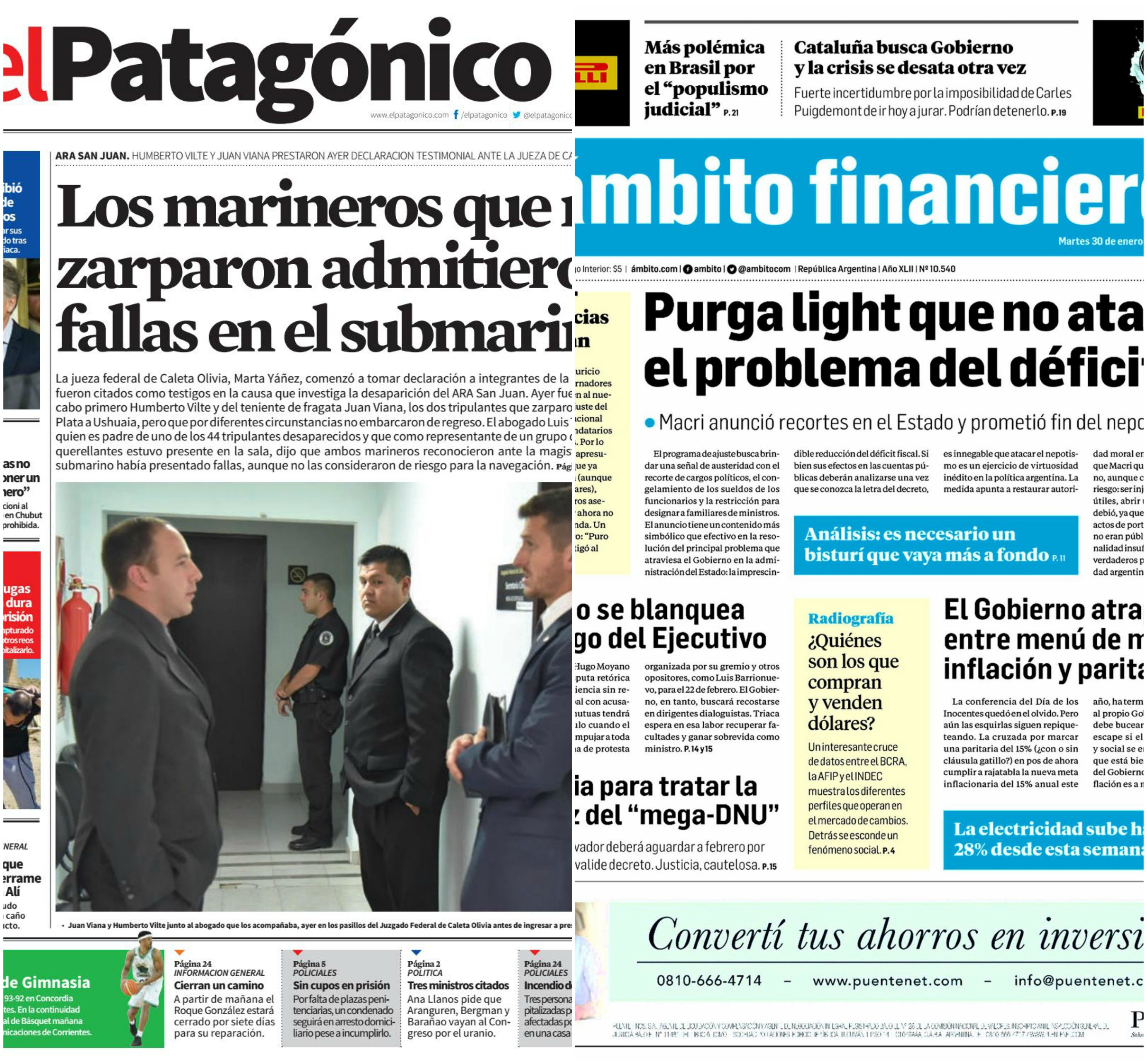 Tapas de diarios del martes 30 de enero de 2018