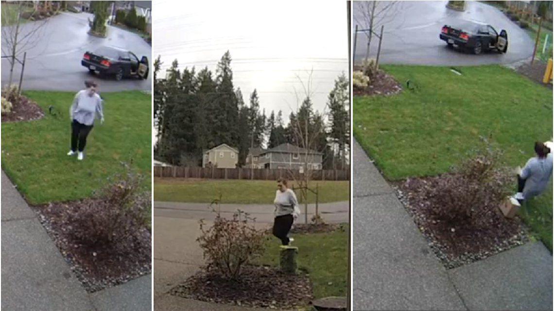 Karma instantáneo: robó un paquete de una casa y se quebró la pierna cuando escapaba