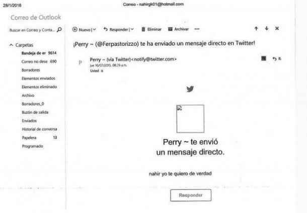 Notificaciones de twitter de los mensajes directos que Pastorizzo le enviaba a la acusada
