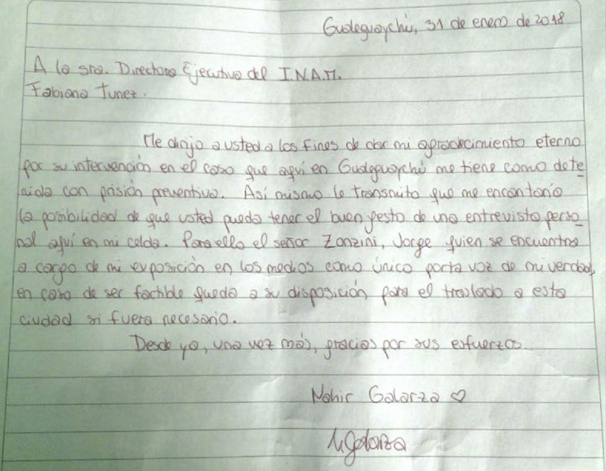 Carta de Nahir Galarza desde la cárcel