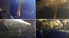 VIDEO: Un incendio dentro de un avión lleno de pasajeros desató el pánico