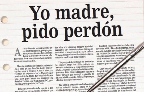 Carta de Myriam Renée Chavez publicada en el diario Hoy