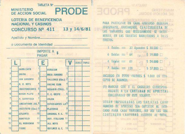 Vieja boleta del Prode - Crédito: porven.com.ar