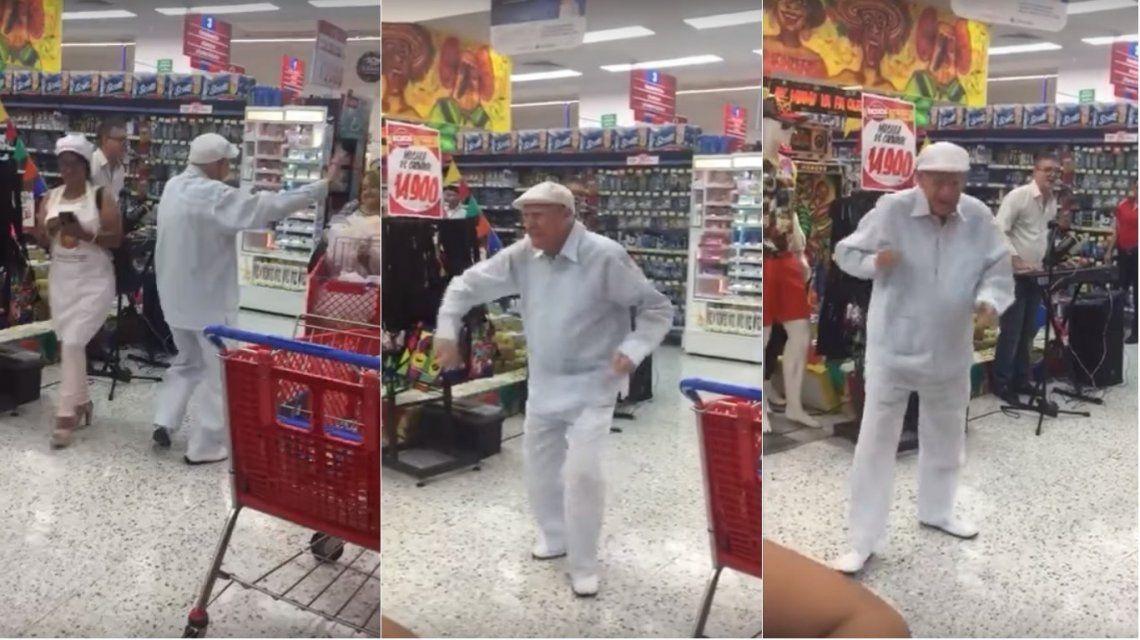 VIDEO: Un abuelo mostró sus habilidades como bailarín en un supermercado lleno