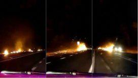 VIDEO: un patrullero persiguió una bola de fuego en la ruta