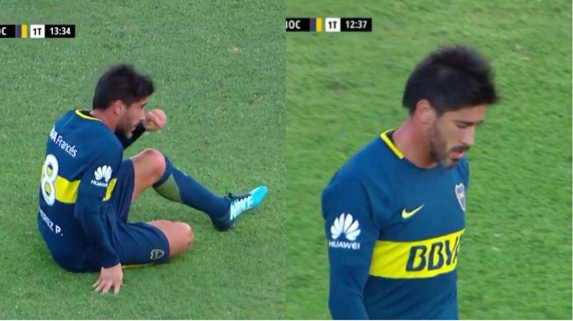 Pablo Pérez se fue lesionado de Boca - Captura@FOXSportsArg