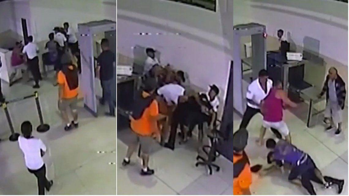 Brutal pelea entre turistas y la PSA en Ezeiza