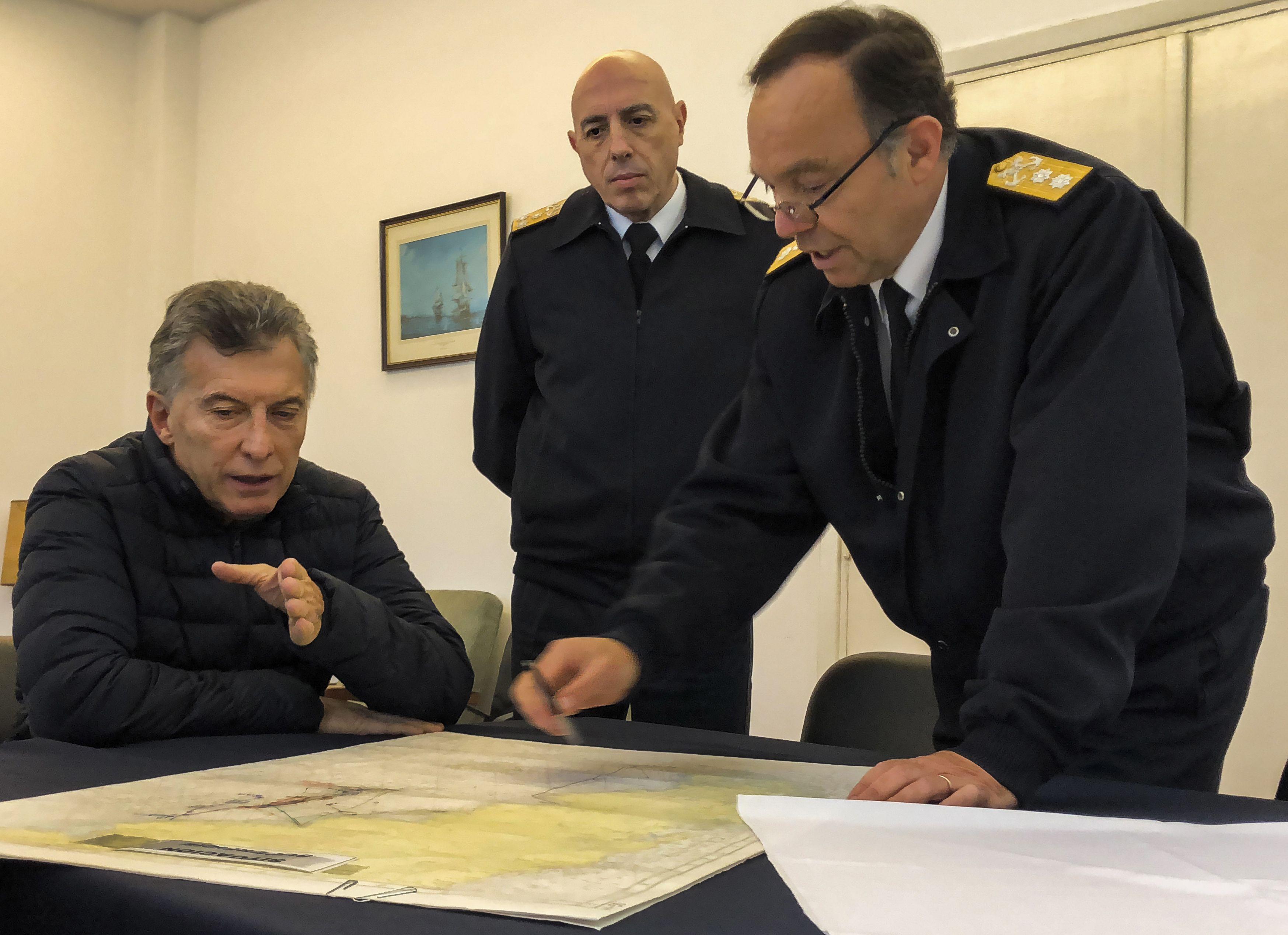 Mauricio Macri duante la búsqueda del ARA San Juan