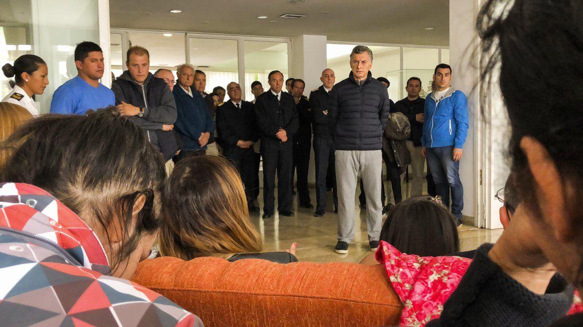Mauricio Macri con familiares de la tripulación del ARA San Juan