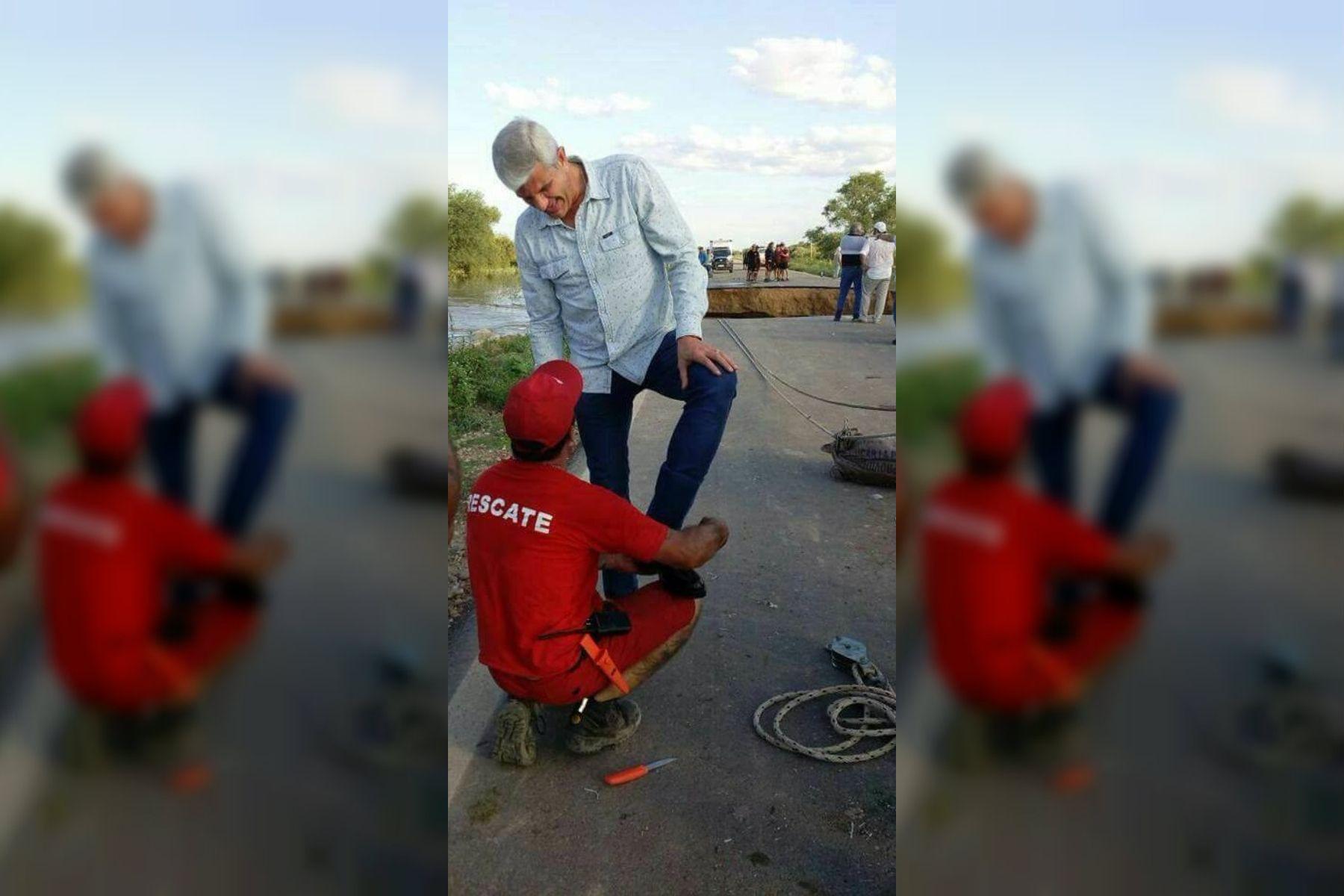Salta: un diputado fue a ayudar a los evacuados y le terminaron lustrando los zapatos