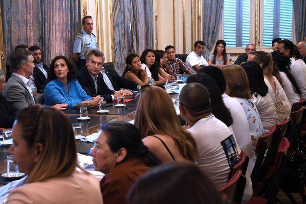 <p>Familiares del ARA San Juan en su reunión con el presidente Macri</p>