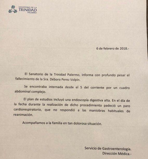"""""""Comunicado del Sanatorio de la Trinidad"""""""