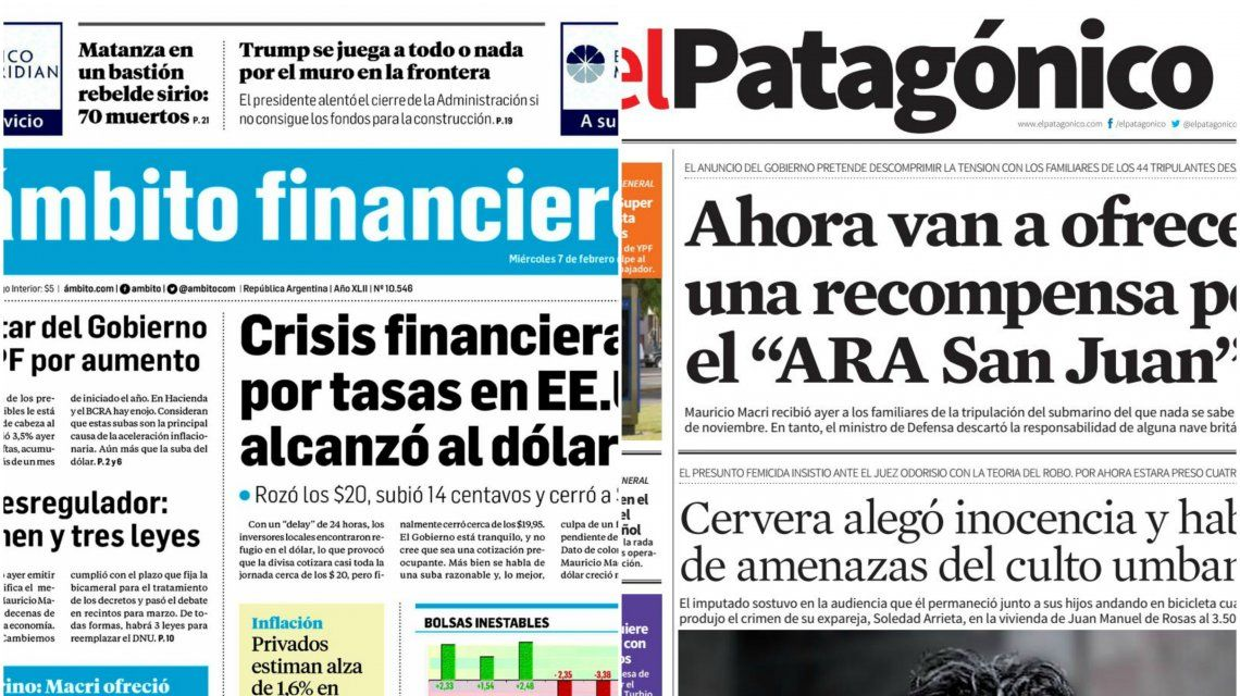 Tapas de diarios del miércoles 7 de febrero de 2018