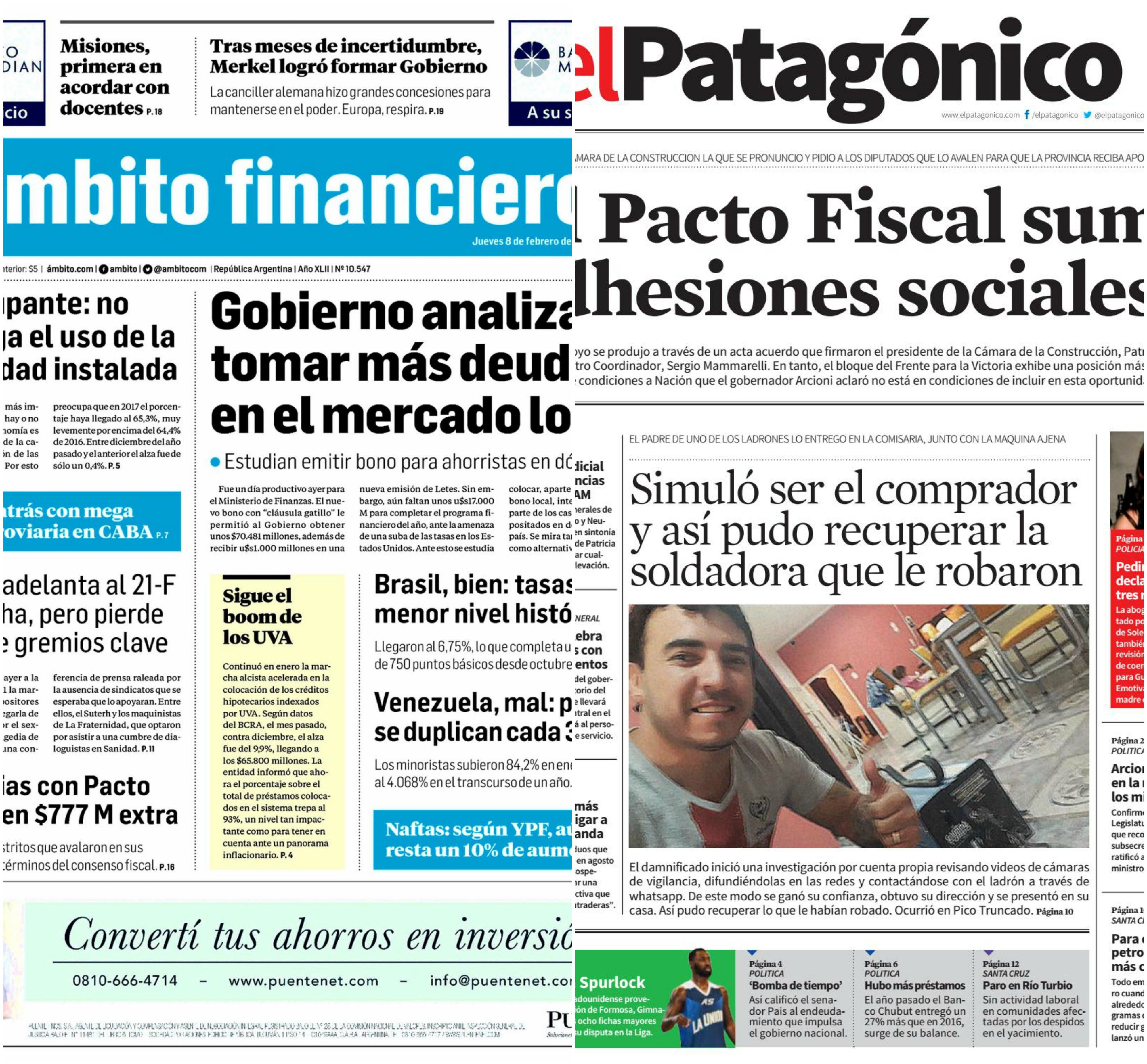 Tapas de diarios del jueves 8 de febrero de 2018