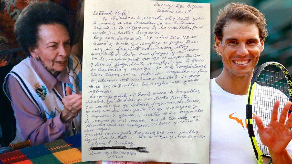 Tiene 93 años, es fanática de Rafa Nadal y su bisnieta inició una campaña para que el tenista responda