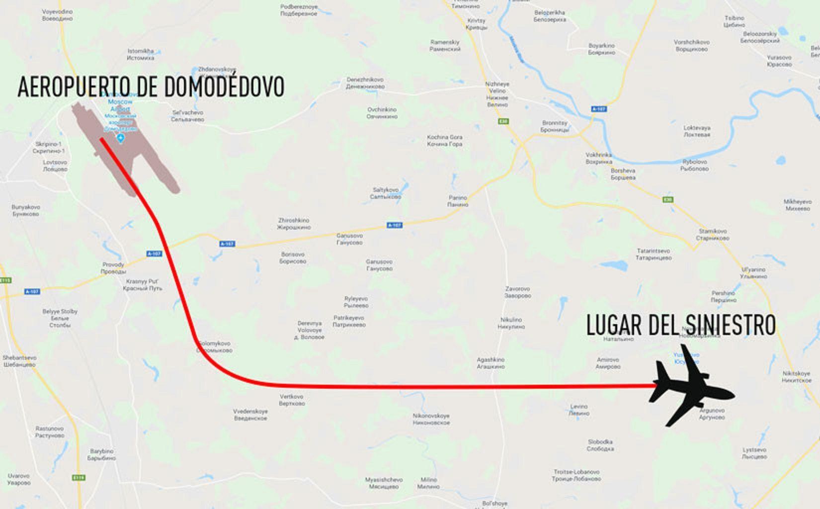 La trayectoria de la aeronave rusa.