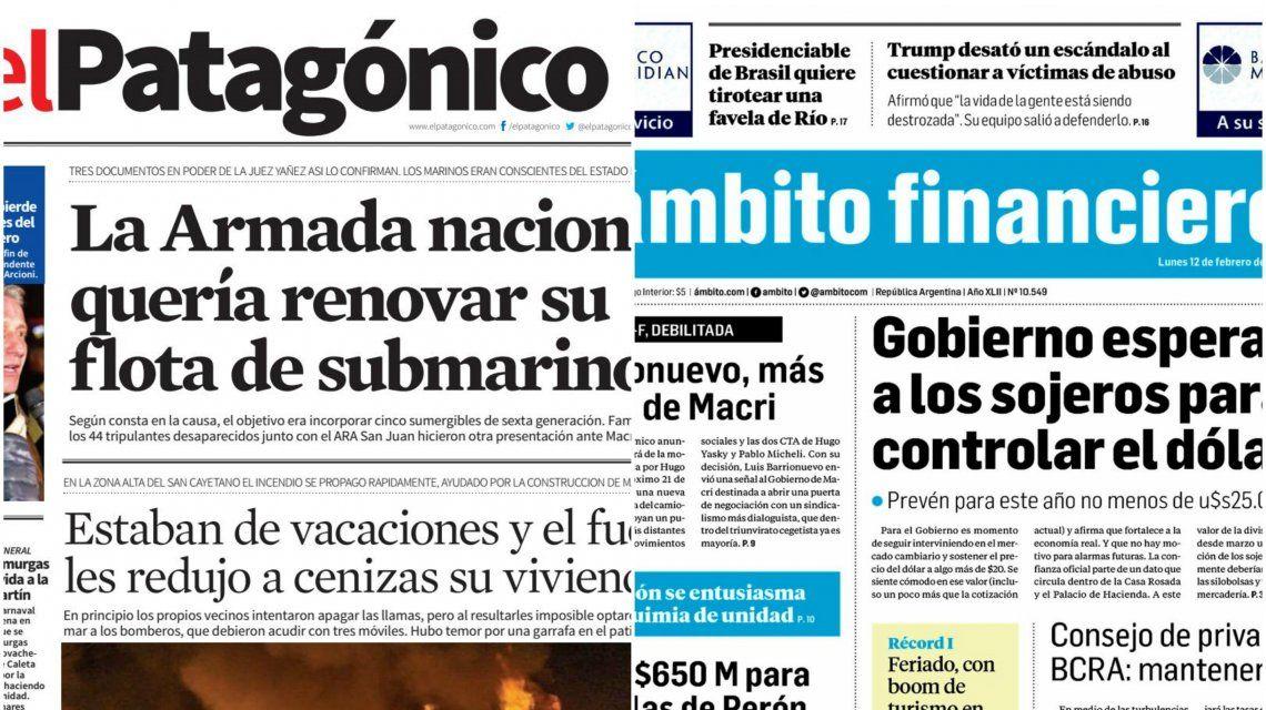 Tapas de diarios del lunes 12 de febrero de 2018