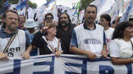 Baradel, en la marcha de docentes hacia Plaza de Mayo