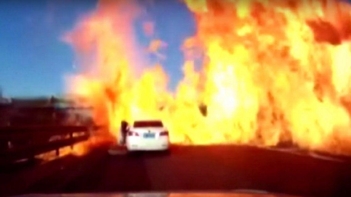 Una ruta quedó en llamas por un escape de gas
