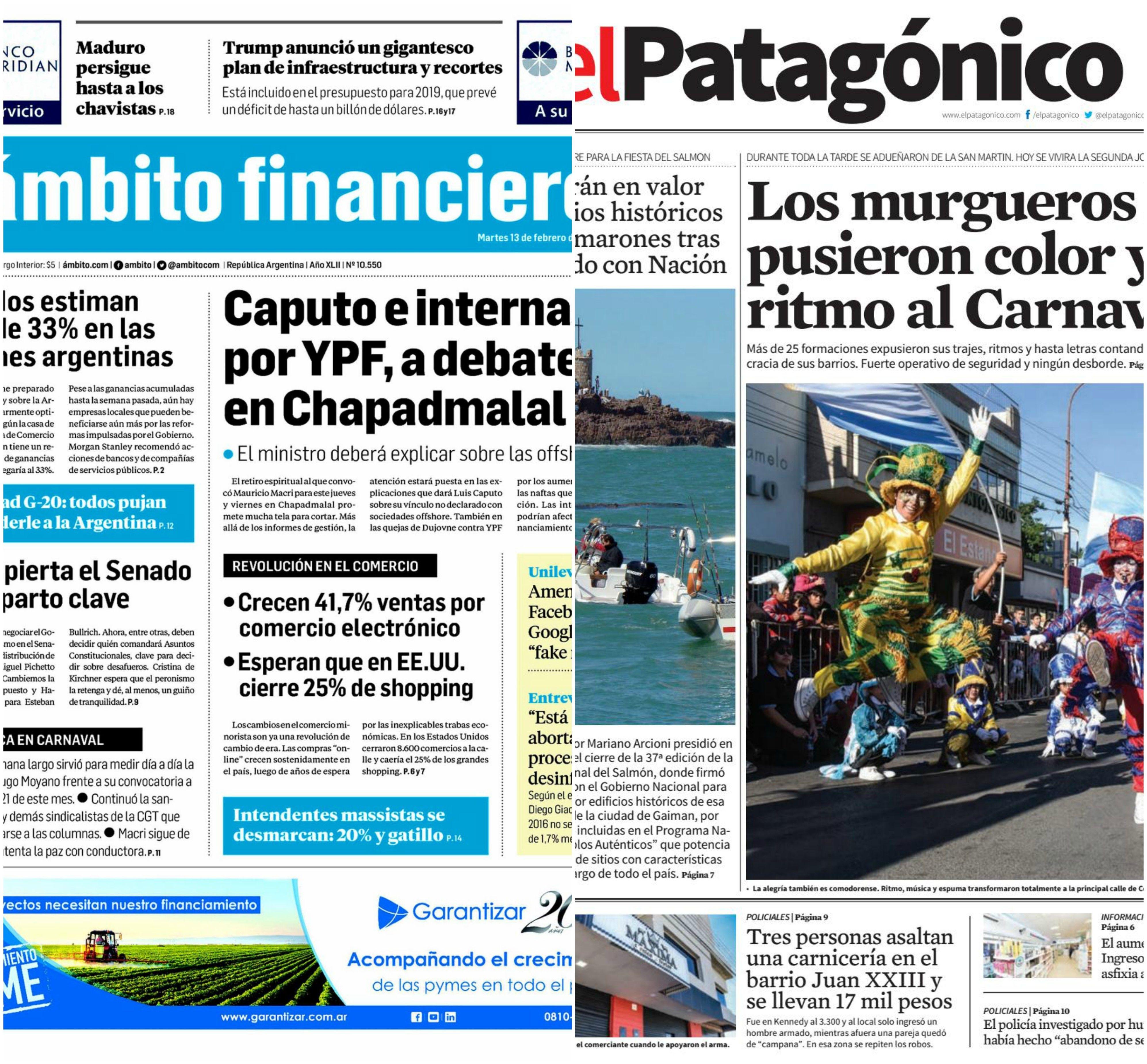 Tapas de diarios del martes 13 de febrero de 2018