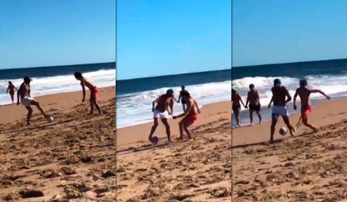 El último gran 10 de Boca, intacto: Juan Román Riquelme mostró su habilidad en la playa