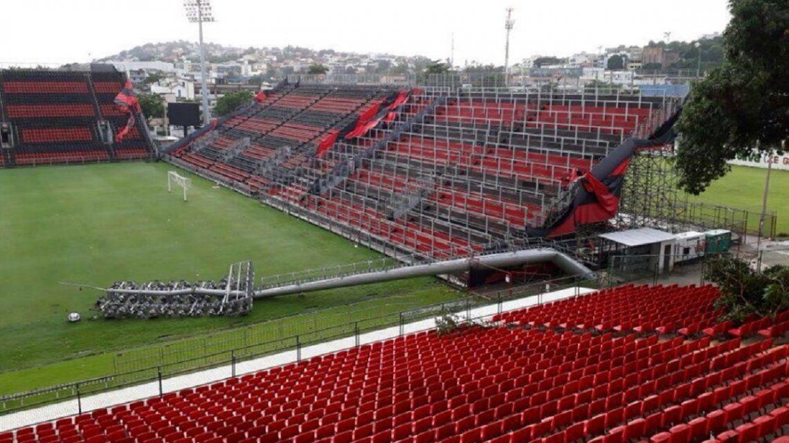 El estadio sufrió los embates del temporal