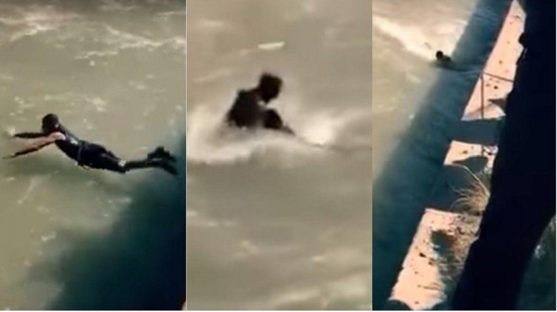 Complicado rescate de un hombre en el canal Guaymallén