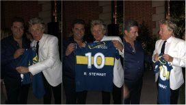 Rod Stewart con la camiseta de Boca