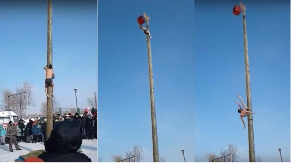 VIDEO: Se cayó de un poste a varios metros de altura ante el horror de los espectadores