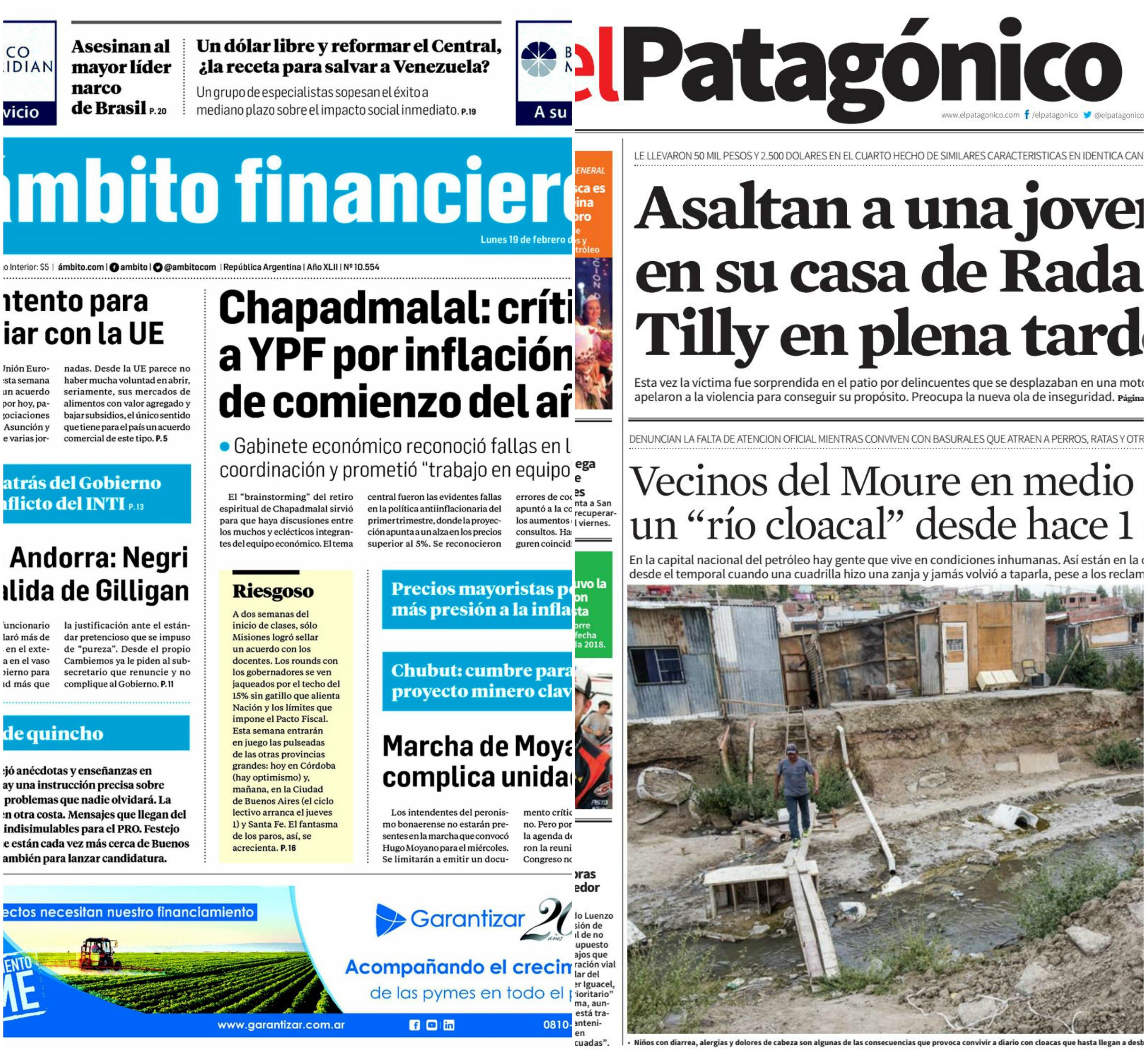 Tapas de diarios del lunes 19 de febrero de 2018