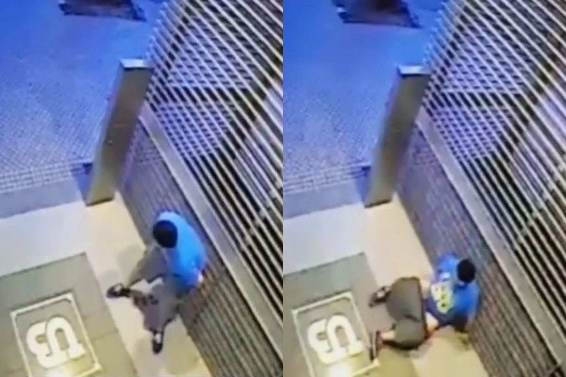 ¡Huele mal! Defecó en la puerta de un edificio, se resbaló y cayó sobre su propia materia fecal