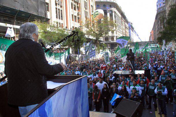 Hugo Moyano en una marcha de 2013<br>