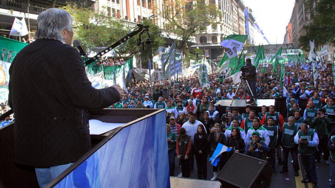 Hugo Moyano en una marcha de 2013