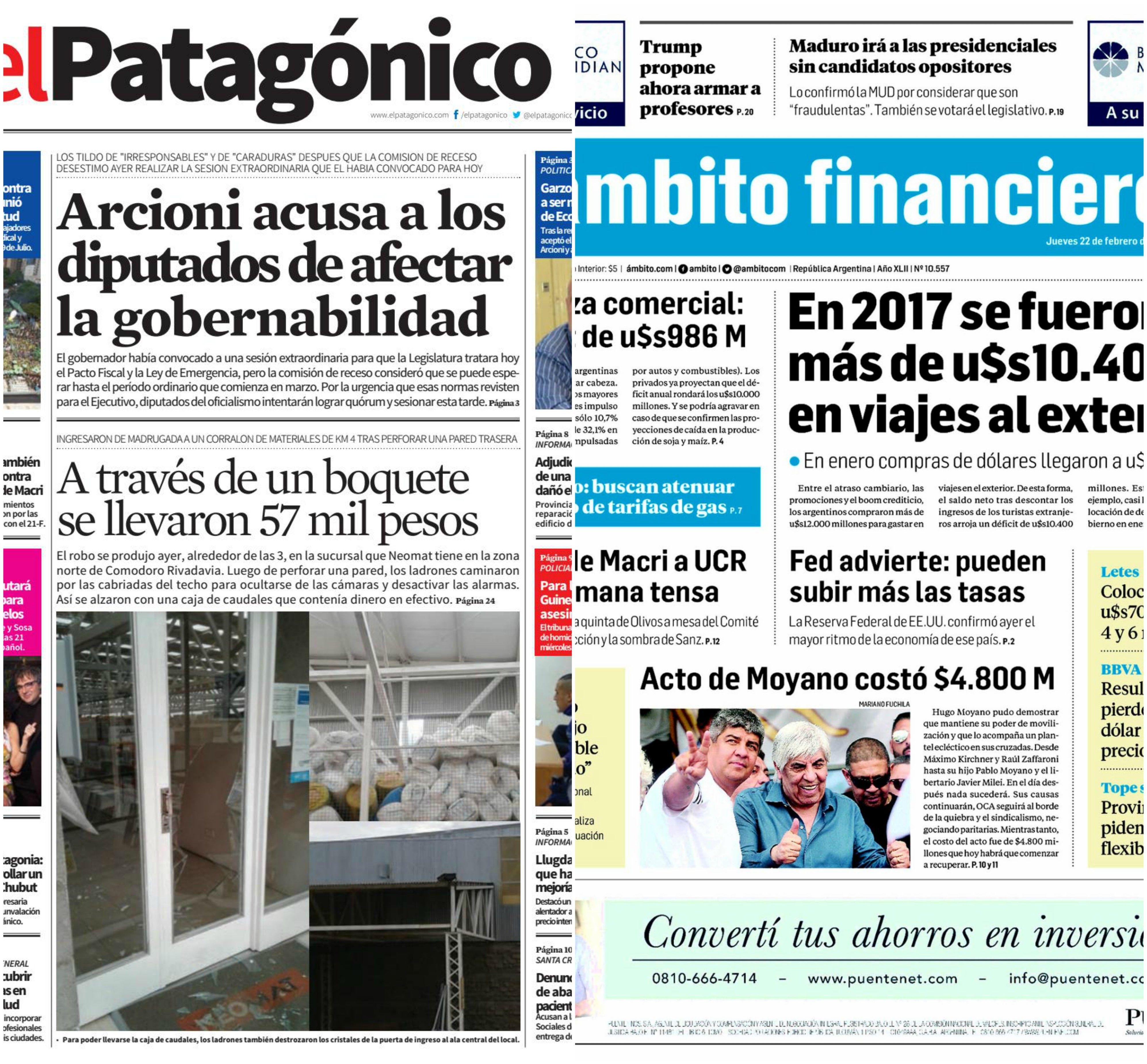 Tapas de diarios del jueves 22 de febrero de 2018