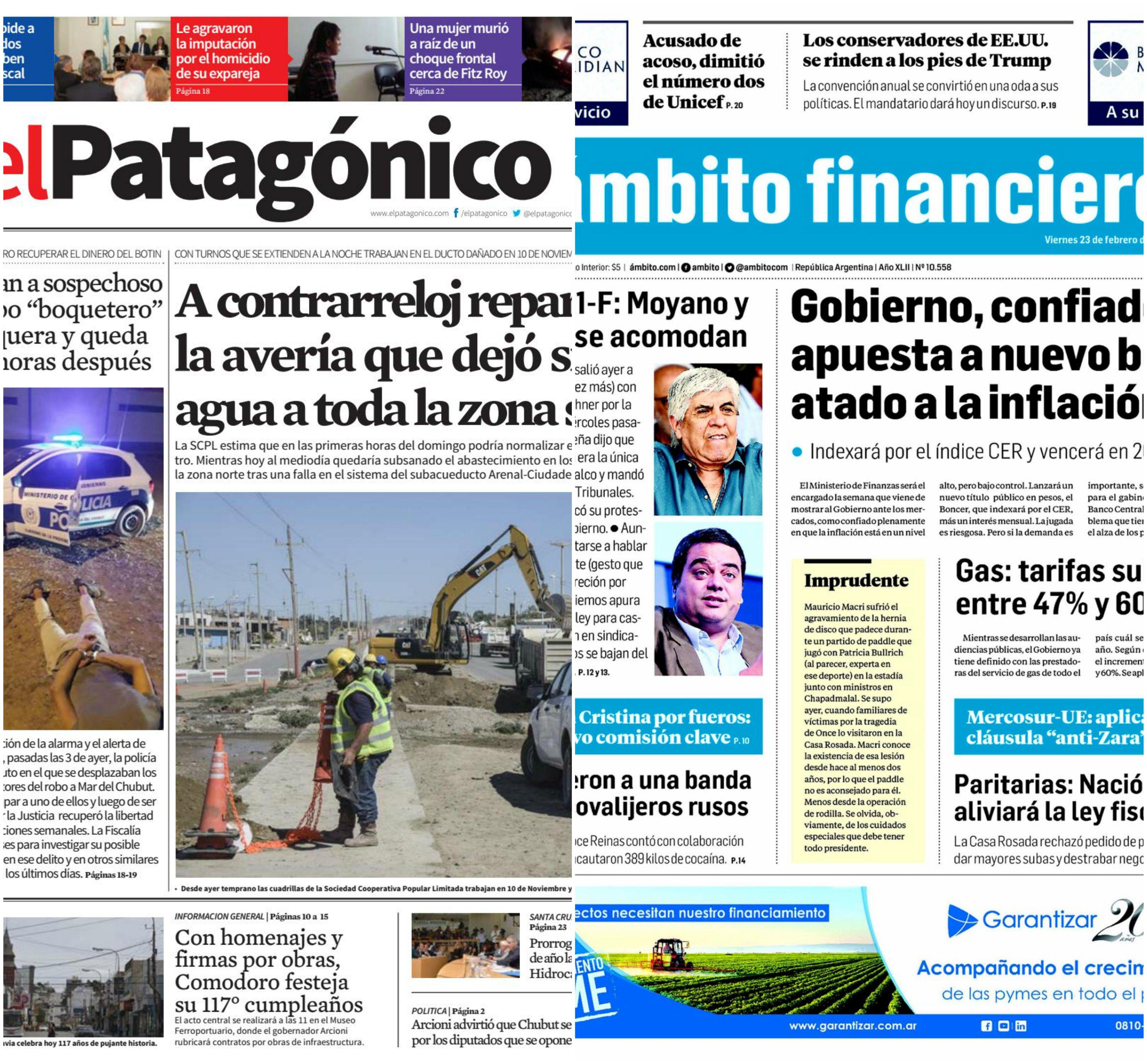 Tapas de diarios del viernes 23 de febrero de 2018