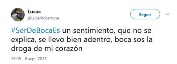 Lucas Robertone dejó bien en claro su amor por Boca en las redes sociales<br>