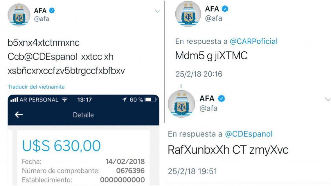 Estos extraños posteos aparecieron en el Twitter de AFA