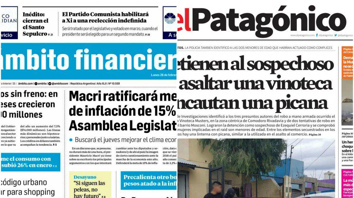 Tapas de diarios del lunes 26 de febrero de 2018