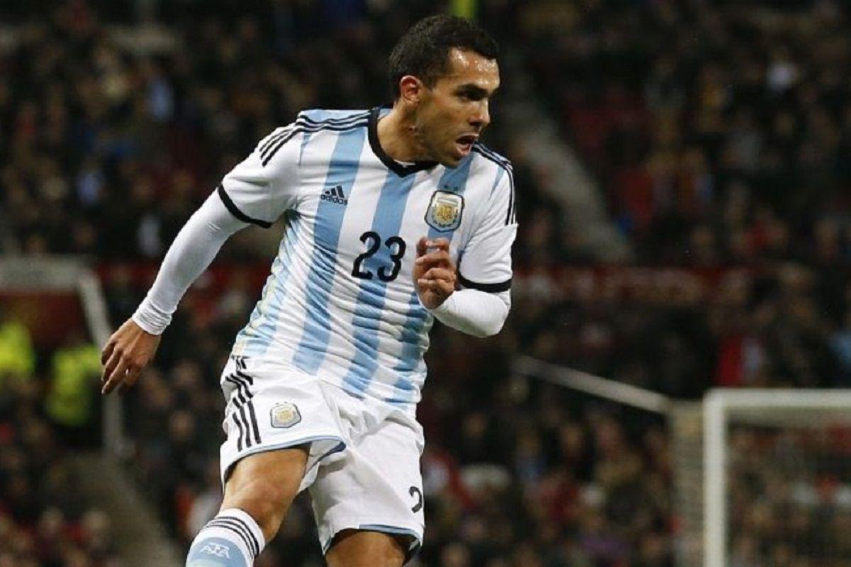 Carlos Tevez con la 23 de la Selección argentina