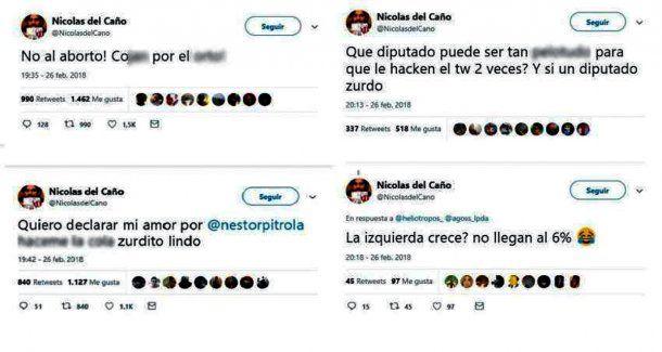Los posteos que publicaron en el Twitter de Nicolás del Caño<br>