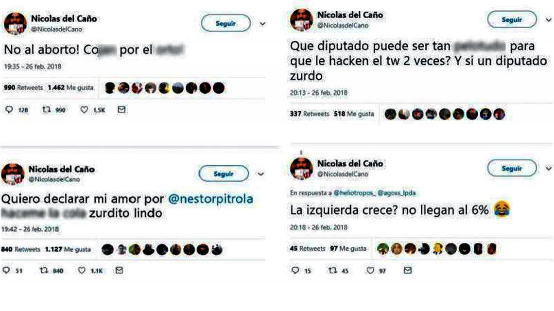Los posteos que publicaron en el Twitter de Nicolás del Caño