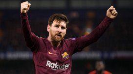 Lionel Messi celebra su gol ante el Chelsea