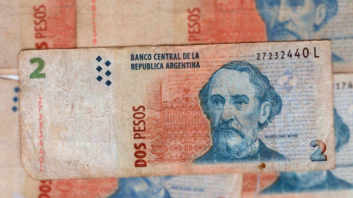 Los bancos aceptarán los billetes de 2 pesos hasta este 31 de mayo