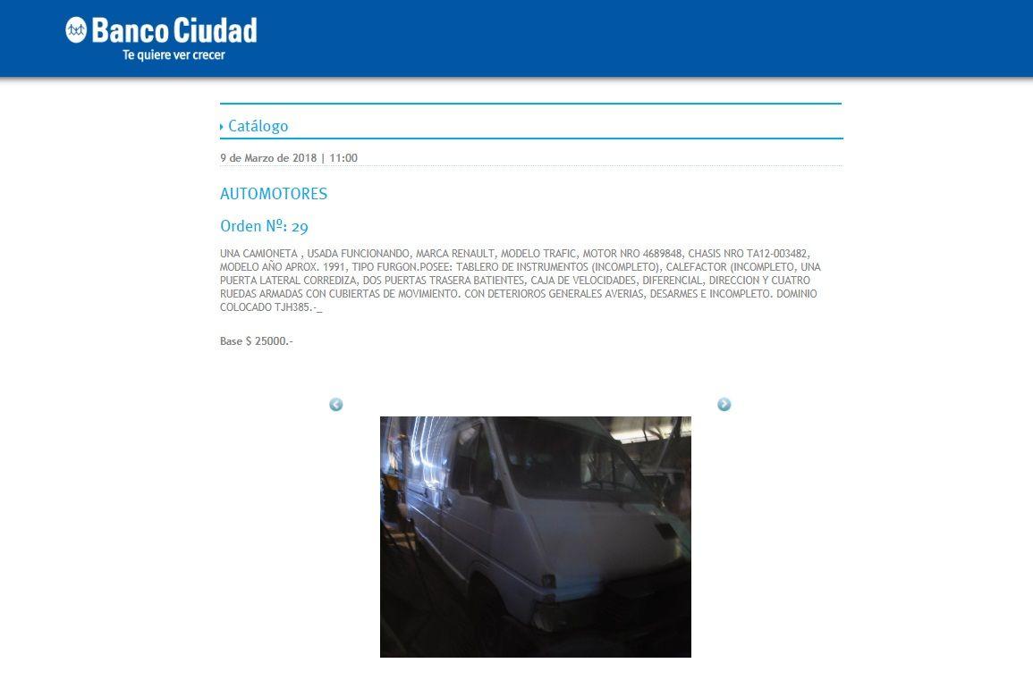 ¿Buscás una camioneta? El Estado rematará vehículos usados desde 25 mil pesos