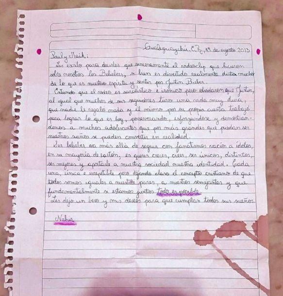 Carta de Nahir Galarza sobre Justin Bieber